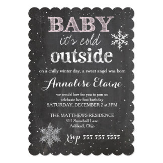 GC Baby It's Cold Outside Winter Birthday 5x7 Paper Invitation Card