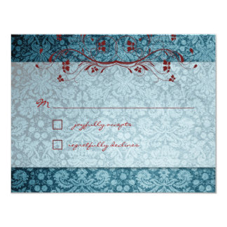 GC | Bejeweled Turquoise & Red RSVP Card