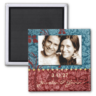GC | Bejeweled Turquoise & Red Save the Date 2 Inch Square Magnet