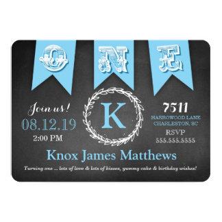 GC Boy First Birthday Banner Chalkboard 5x7 Paper Invitation Card