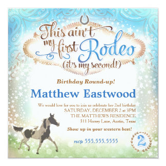GC Boy This Ain't My First Rodeo 2nd Birthday 5.25x5.25 Square Paper Invitation Card
