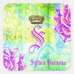 GC Cali Vibrant Garden Crown Purple Garden Flowers Square Stickers