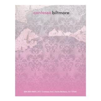 GC | Captivating Contessa | Pink Damask Letterhead Design