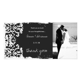 GC | Charcoal Vintage 3 Damask Horizontal Thank U Photo Card