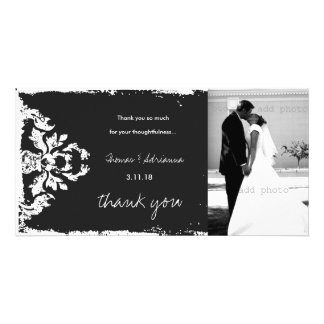 GC | Charcoal Vintage 4 Damask Horizontal Thank U Photo Card