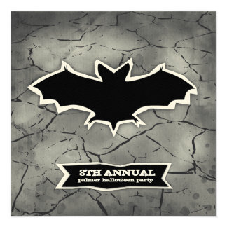GC Cracked Bat Spook Halloween Cut Out 5.25x5.25 Square Paper Invitation Card