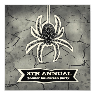 GC Cracked Spider Spook Halloween Cut Out 5.25x5.25 Square Paper Invitation Card