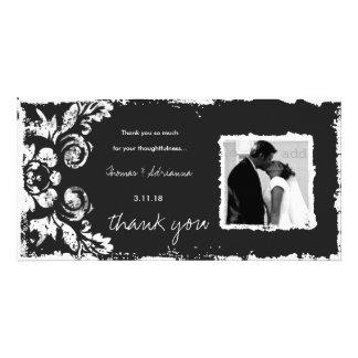 GC | Deep Gray Vintage Damask Thank You Photo Card