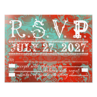 GC  Eclectically Vintage Aqua Red Damask RSVP Card