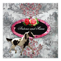 GC | Eclectically Vintage Damask Horse Grey Card