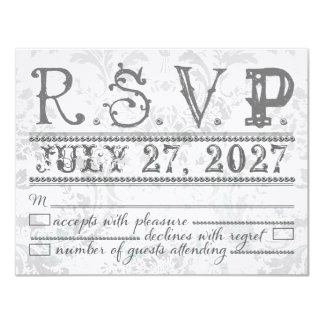 GC  Eclectically Vintage Gray Damask RSVP Card