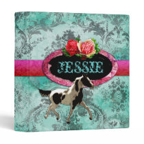 GC | Eclectically Vintage | Horse | Teal Damask Binder