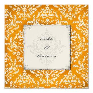GC | Erika Vintage Damask Orange Gold Metallic Card