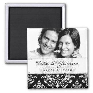 GC | Erika Vintage Damask Save the Date-Black 2 Inch Square Magnet
