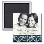 GC | Erika Vintage Damask Save the Date Navy 2 Inch Square Magnet