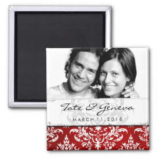 GC | Erika Vintage Damask Save the Date-Red 2 Inch Square Magnet