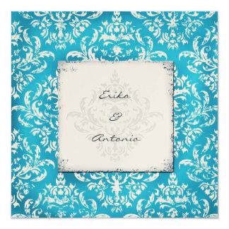 GC Erika Vintage Damask Turquoise Golden Metallic Card