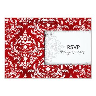 GC | Erika Vintage Ruby Red Damask RSVP Card