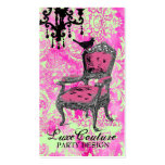 GC | Fabulously French Hot Pink Lime Damask Double-Sided Standard Business Cards (Pack Of 100)