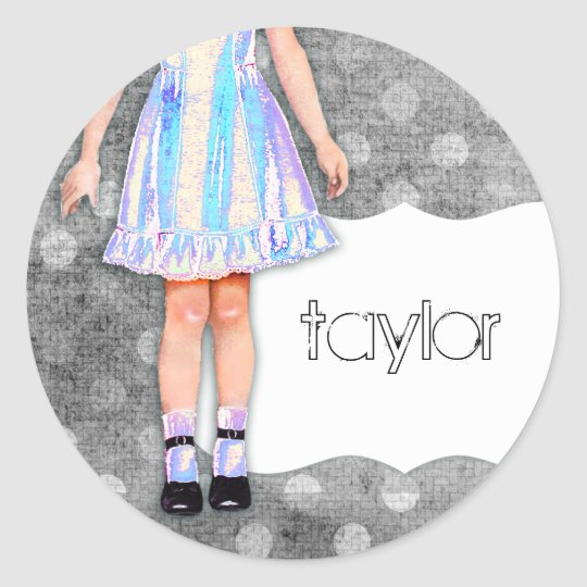 GC | Girly Girl Doll Funky Blue Classic Round Sticker