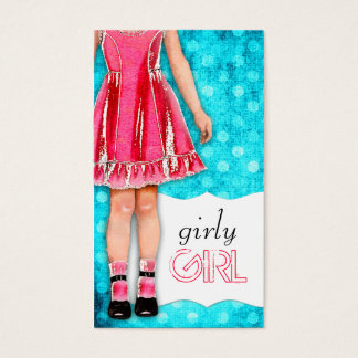 GC Girly Girl Doll Hot Pink Turquoise Dots Business Card
