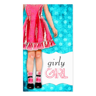 GC | Girly Girl Doll Hot Pink Turquoise Dots Double-Sided Standard Business Cards (Pack Of 100)