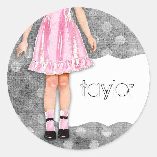 GC   Girly Girl Doll Pink Classic Round Sticker