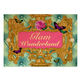 GC Glam Wonderland Gold Blue Tuft Metallic Business Cards