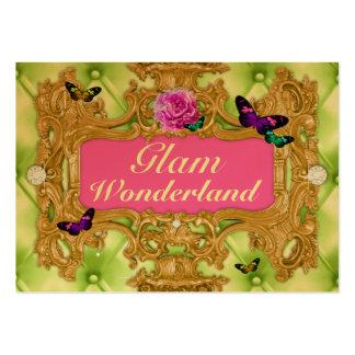 GC Glam Wonderland Gold Lime Tuft Metallic Business Cards