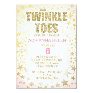"GC Glitter Twinkle Toes Dancer Invitation 5"" X 7"" Invitation Card"