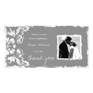 GC | Gray Vintage Damask Thank You Photo Card