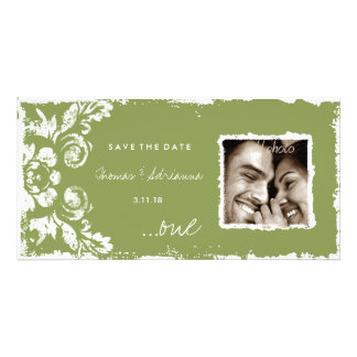 GC | Green Vintage Damask Save the Date Photo Card Template