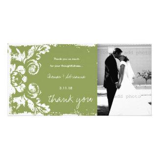 GC | Green Vintage Damask Thank You Photo Card