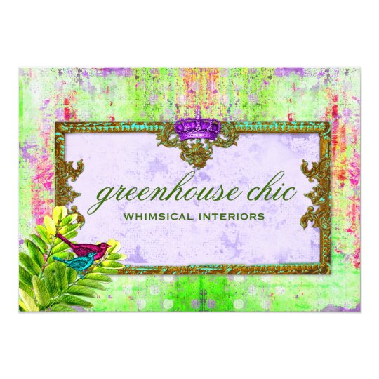 GC Greenhouse Chic Lime Purple Gift Certificate Card