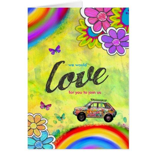GC Hippie Tie Dye Invite Greeting Cards