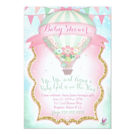 GC Hot Air Balloon Baby Shower Girl Card