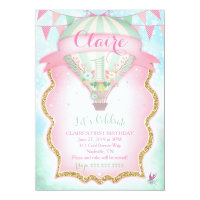 Hot air balloon birthday invitations announcements zazzle gc hot air balloon first birthday bookmarktalkfo Image collections