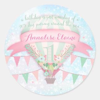 GC Hot Air Balloon First Birthday Sticker Round