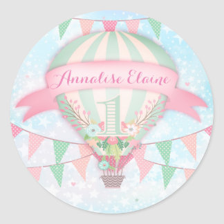 GC Hot Air Balloon First Birthday Sticker Round 2
