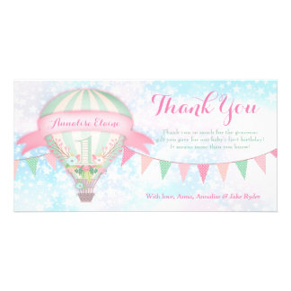 GC Hot Air Balloon First Birthday Thank You Card