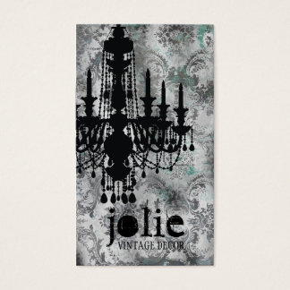 GC | Jolie Chandelier Gray Damask Business Card