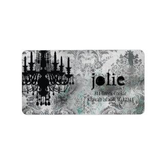GC | Jolie Chandelier Gray Damask Custom Address Label