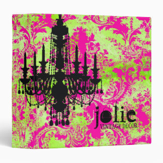 GC | Jolie Chandelier Hot Lime Damask Vinyl Binder