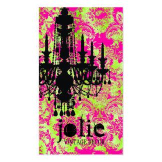 GC Jolie Chandelier Hot Lime Damask Business Card