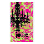 GC | Jolie Chandelier Hot Lime Damask Double-Sided Standard Business Cards (Pack Of 100)