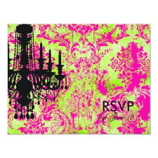 GC | Jolie Chandelier Hot Lime Damask RSVP Card