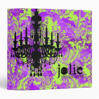 GC | Jolie Chandelier Hot Violet Damask 3 Ring Binder