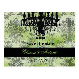 GC | Jolie Chandelier Lime Black Damask Postcard
