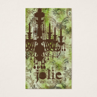 GC | Jolie Chandelier Lime Brown Damask Business Card