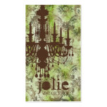 GC | Jolie Chandelier Lime Brown Damask Business Card Templates